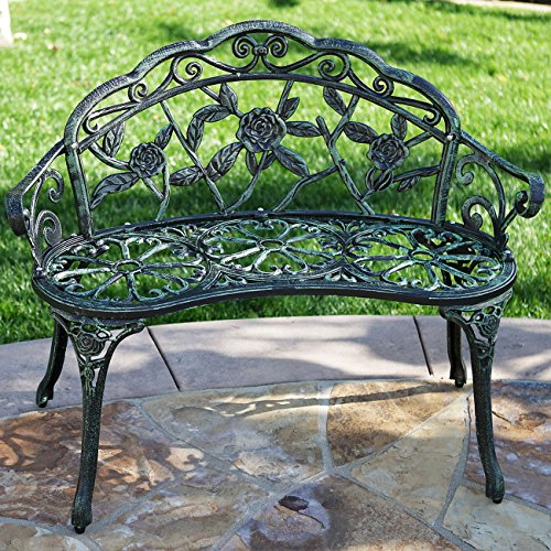 Belleze Rose Style Park Bench Love Seat Cast Iron Antique Designed Outdoor Patio Porch Home Pool Garden Backyard Green (Curved Bench Backless)