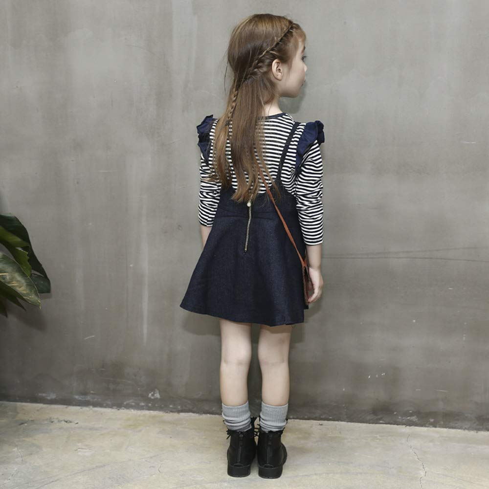 JUXINSU Girls Cotton Long Sleeve T-Shirt Denim Skirt Set for Winter and Autumn 2-7 Years TL612 (Navy, 4T) by JUXINSU (Image #4)