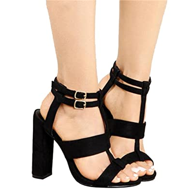 Women s Sexy Ankle Strap Sandal Buckle Open Toe 10cm High Heel Sandals (US  5