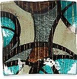 Angelstar 19072 Handmade and Hand-Painted Glass Modern Swirl Square Plate, 8-Inch