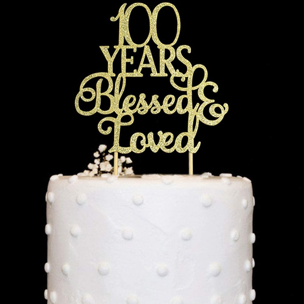 Fabulous Amazon Com 100 Years Blessed Loved Cake Topper For 100Th Funny Birthday Cards Online Aboleapandamsfinfo