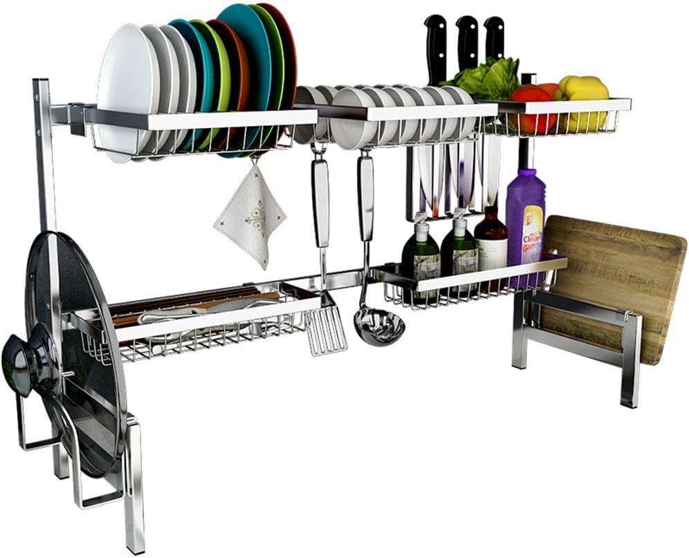 キッチン収納 ステンレス鋼の食器棚|シンクはキッチンの食器は、ドレインラックラック|食器ストレージラック|ライスボウルラック|プレートラックL85×H50×W27cm XJMSB