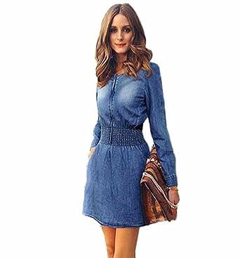 2c9c1ddd5501 Photno Vintage Spring Dresses Long Sleeve Casual Party Mini Dress Denim  Jeans Dress Women at Amazon Women s Clothing store