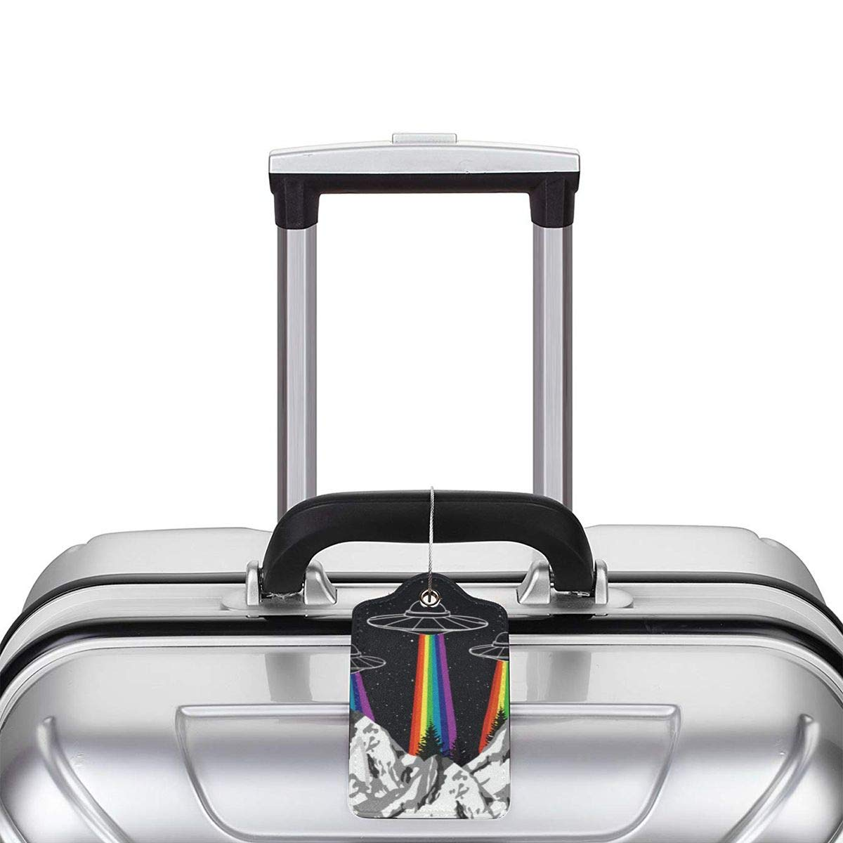 Rainbow Ufo Gay Pride Luggage Tag Label Travel Bag Label With Privacy Cover Luggage Tag Leather Personalized Suitcase Tag Travel Accessories