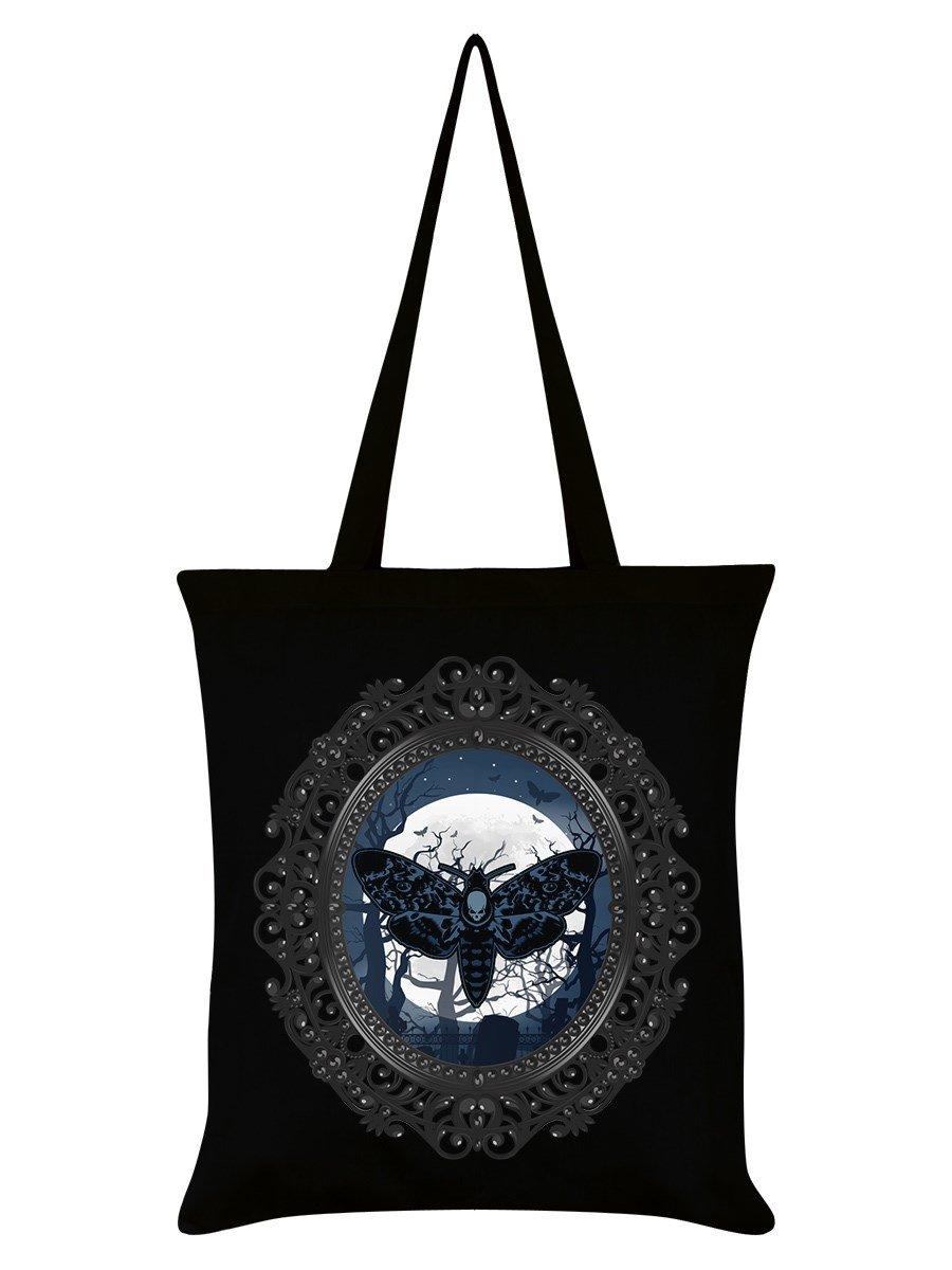 Death Moon Moth Tote Bag Black 38x42cm