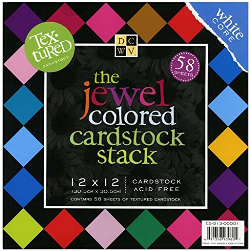 Coloured Card - DCWV Cardstock Stack, Textured Jewel Colored, 58 Sheets, 12 x 12 inches