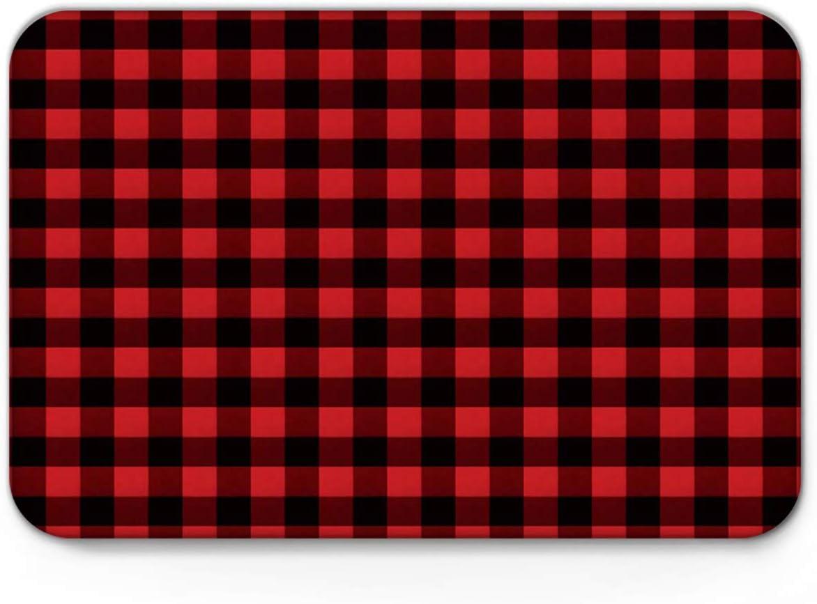 Rustic Red Black Buffalo Check Plaid Pattern Bath Mat Rugs Non-Slip Soft Absorbent Bathroom Kitchen Floor Mat Carpet