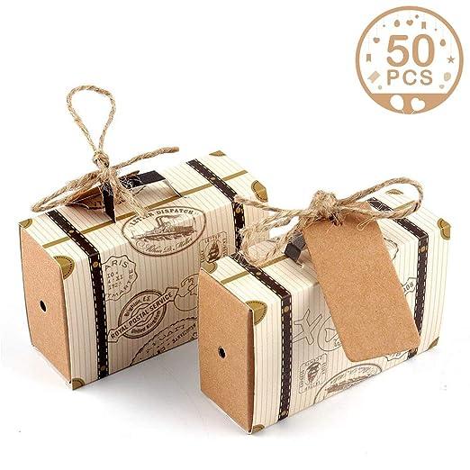 """ddcb5957108 AerWo 50pcs """"Travel Themed"""" Suitcase Favor Boxes + 50pcs Tags, Vintage  Kraft Favor"""