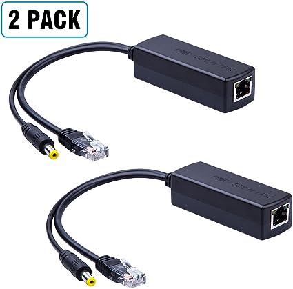 IEEE 802.3af 2-Pack Active PoE Power Over Ethernet Splitter Adapter 48V To 12V
