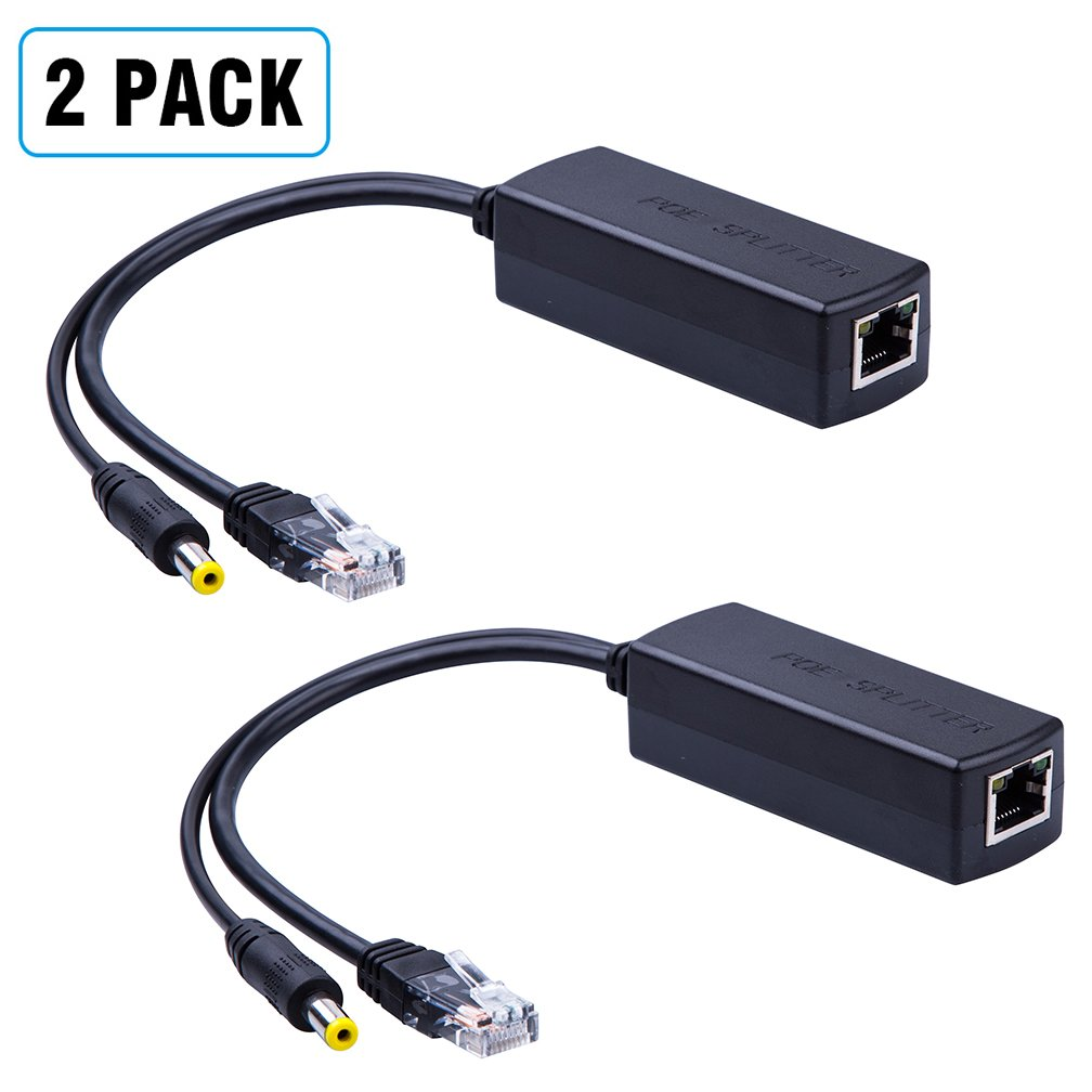 2-Pack Active PoE power over ethernet Splitter Adapter 48V to 12V, IEEE 802.3af Compliant 10/100Mbps PoE Splitter With 12V output for Surveillance Camera, ipolex by ipolex