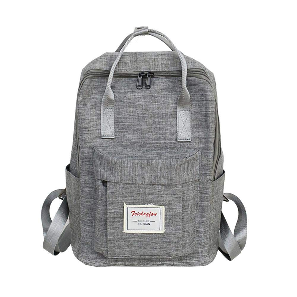 f5df314ec7 Amazon.com  AFfeco Women Backpack Large Canvas Handbag Shoulder Bags Travel  School Bag (Grey)  Clothing