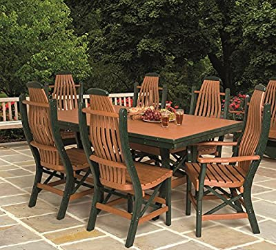 "Poly Lumber Patio Furniture Set Including 1 Rectangular Table (72"") and 6 Chairs in 18 Colors - Amish Made in USA"