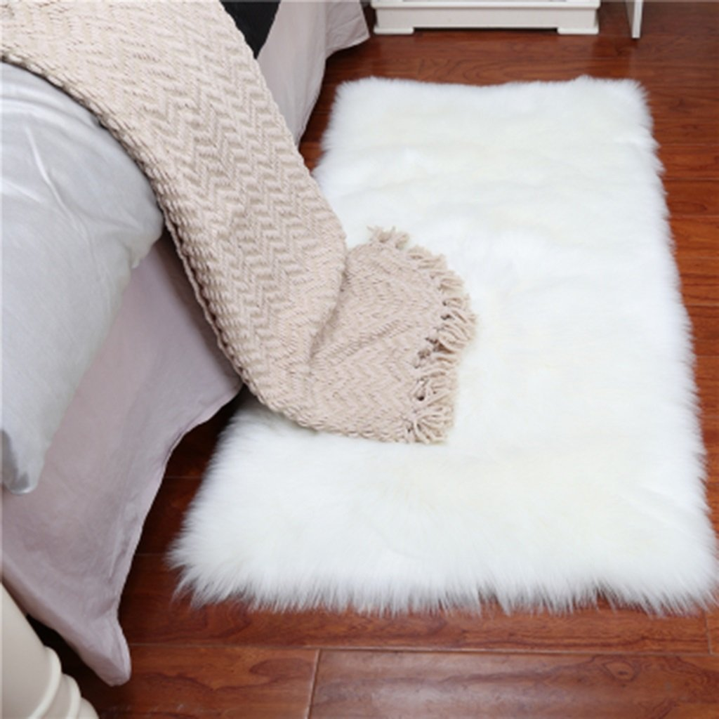 Chi Cheng Fang Electronic business Rugs Carpets Rug Carpet Faux Sheepskin rectangle Carpet/Fluffy Shaggy Rug Decorative Sofa Cushion 5-6cm Long Pile Carpet for Living Room Bedroom Floating Window Pad