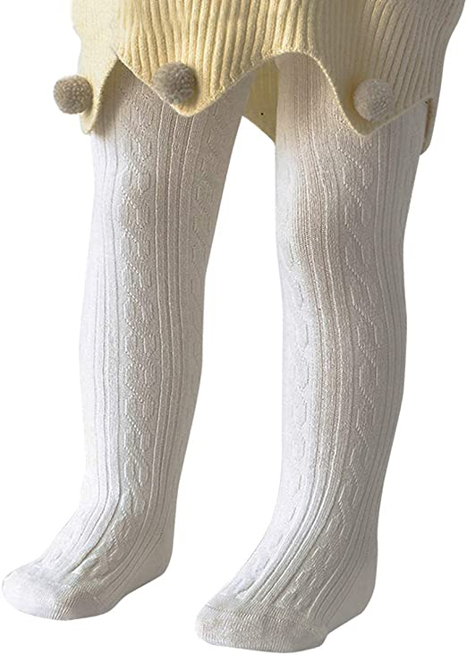 Fynnsure Baby Girl Tights Infant Soft Leggings Cable Knit Bownot Toddler Tights Full-Footed Baby Stockings