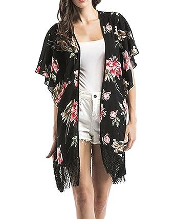 DELEY Mujeres Vintage Floral De Gasa Bikini Cubrir Elegante ...