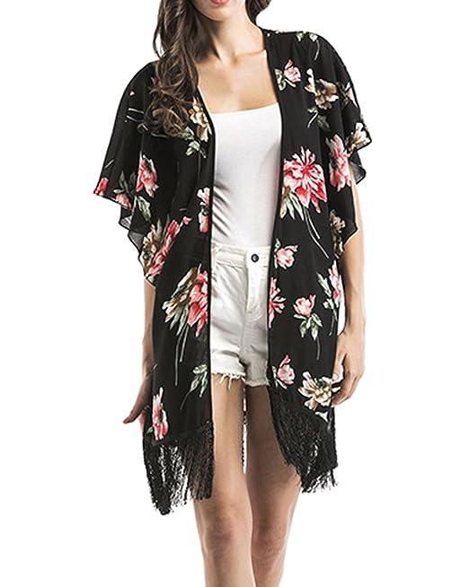 DELEY Mujeres Vintage Floral De Gasa Bikini Cubrir Elegante Pura Chaqueta Kimono Tops Ropa De Playa De Verano Chal Blusa: Amazon.es: Ropa y accesorios