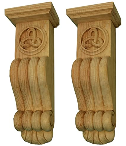 Irish Heritage Celtic Knotwork Fire Surround Corbel Bracket Individually Hand Carved By Our Master Craftsman In Solid Natural Pinewood Supplied As A