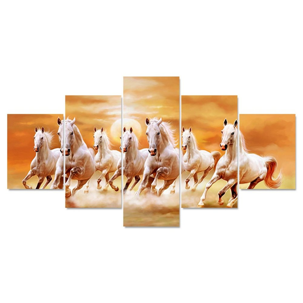 GUAITAI 5Pcs Framed Running Horse Artwork Canvas Wall Paintings Home Decoration Pitures (Running Horse / Have No Frame, 7x11inchx2+7x15inchx2+7x19inchx1)
