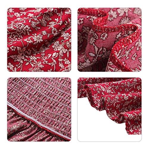 Cerimonia spalla Sera Eleganti Stampato Spiaggia Fuori Mare Rosso Hikong Da Donna Lunghi Floreale Vestiti Abito Maxi q8HxnF7Xwx