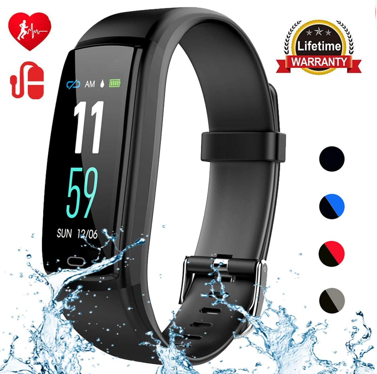 Mgaolo Fitness Tracker,Activity Health Tracker Waterproof Smart Watch Wristband with Blood Pressure Heart Rate Sleep Monitor Pedometer Step Calorie Counter for Android and iPhone