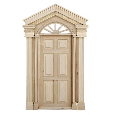 1:12 Dollhouse Miniature Wooden Exterior Door 6 Panel: Toys & Games