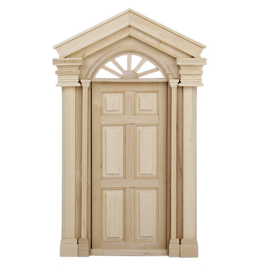 1:12 Dollhouse Miniature Wooden Exterior Door 6 Panel Generic