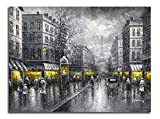 new york and paris wall art - Wieco Art - Paris Street View Large Modern Wrapped Giclee Cityscape Artwork Contemporary Landscape City Oil Paintings reproduction on Canvas Wall Art for Living Room Bedroom Home Decorations