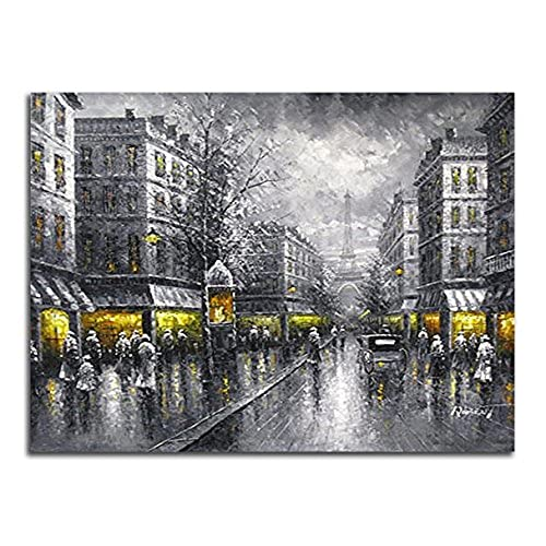 Wieco art paris street view modern giclee contemporary cityscape artwork decorative landscape oil paintings reproduction on canvas wall art for home