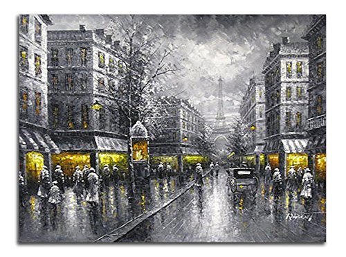 Wieco Art Paris Street View Large Modern Wrapped Giclee Cityscape Artwork Contemporary Landscape City Oil Paintings Reproduction on Canvas Wall Art for Living Room Bedroom Home Decorations (Large Room Paintings For Living)