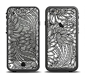 The Black & White Vector Floral Connect Skin Set for the Apple iPhone 6 LifeProof Fre Case (Skin Only)