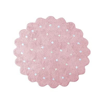 Playroom Round Polka Dot Rug for Kids Baby Soft Cotton Teepee Game Play Mat Large 4 ft Diameter Bedroom Classroom Nursery Decor Carpets Girls Gift Pink: Baby
