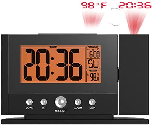 Snooze Alarm Clock Backlight Wall LCD Projector Projection Clocks Thermometer