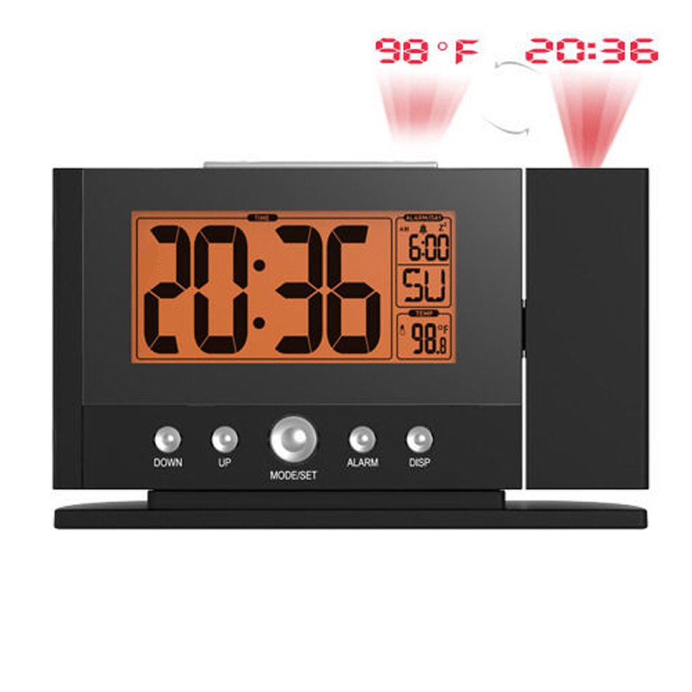 BALDR Projection Clock, Time & Temperature Projector on Wall Ceiling, LCD Screen, Snooze Indoor Temperature, Night Light, Orange Backlight by GAOHAILONG