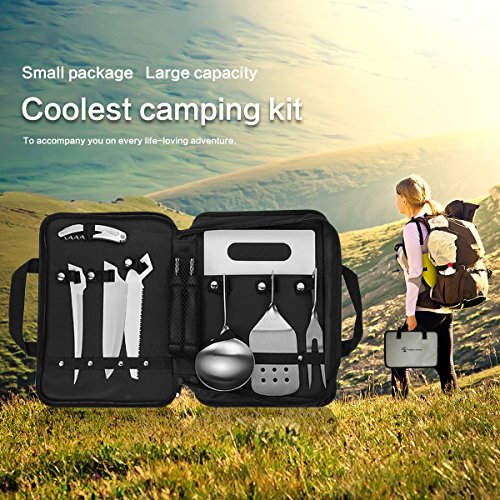 Forest Master Camping Cooking Utensils Organizer Travel Set Portable – Detachable Handle Camp Kitchen Utensils Kit with Waterproof Case,Picnic Backpack BBQ Hiking Outdoor Cookware Utensils