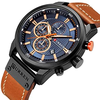 Mens Military Sport Watches Mens Quartz Leather Strap Date Multi-Function Wristwatch Reloj Hombre Black