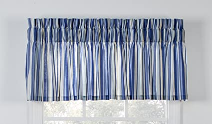 blue window valance blue floral mason stripe print tailored valance curtain 80inchby15inch amazoncom 80inchby