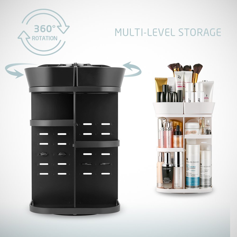 Jerrybox Makeup Organizer 360-Degree Rotating Adjustable Multi-Function Cosmetic Storage Box, Compact Size with Large Capacity, Fits Different Types of Cosmetics and Accessories, Black