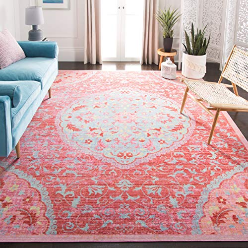 Safavieh WDS335A-4 Windsor Collection Rose and Seafoam Cotton Area Rug, 4' x 6',