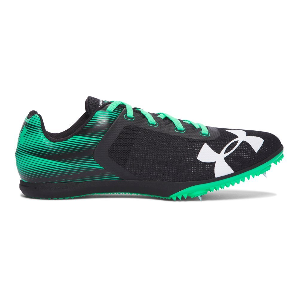 Under Armour Men's Kick Distance Spike Sneaker, White/Black/Black B01GP0IMSK 10 D(M) US Black/ Vapor Green/ Vapor Green