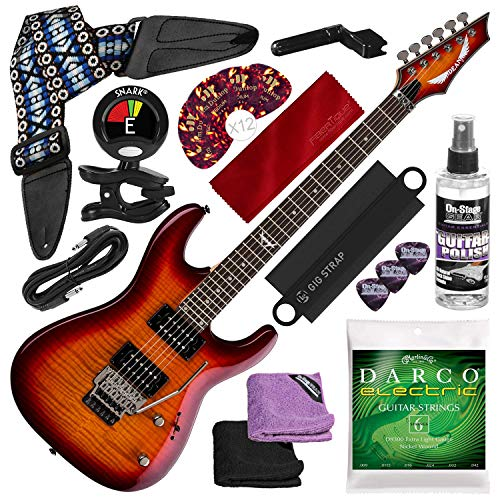 Dean Custom 350 Floyd Electric Guitar with Floyd Rose Bridge, Trans Amberburst with Guitar Strap, Strings, Picks, and Complete Accessory Bundle