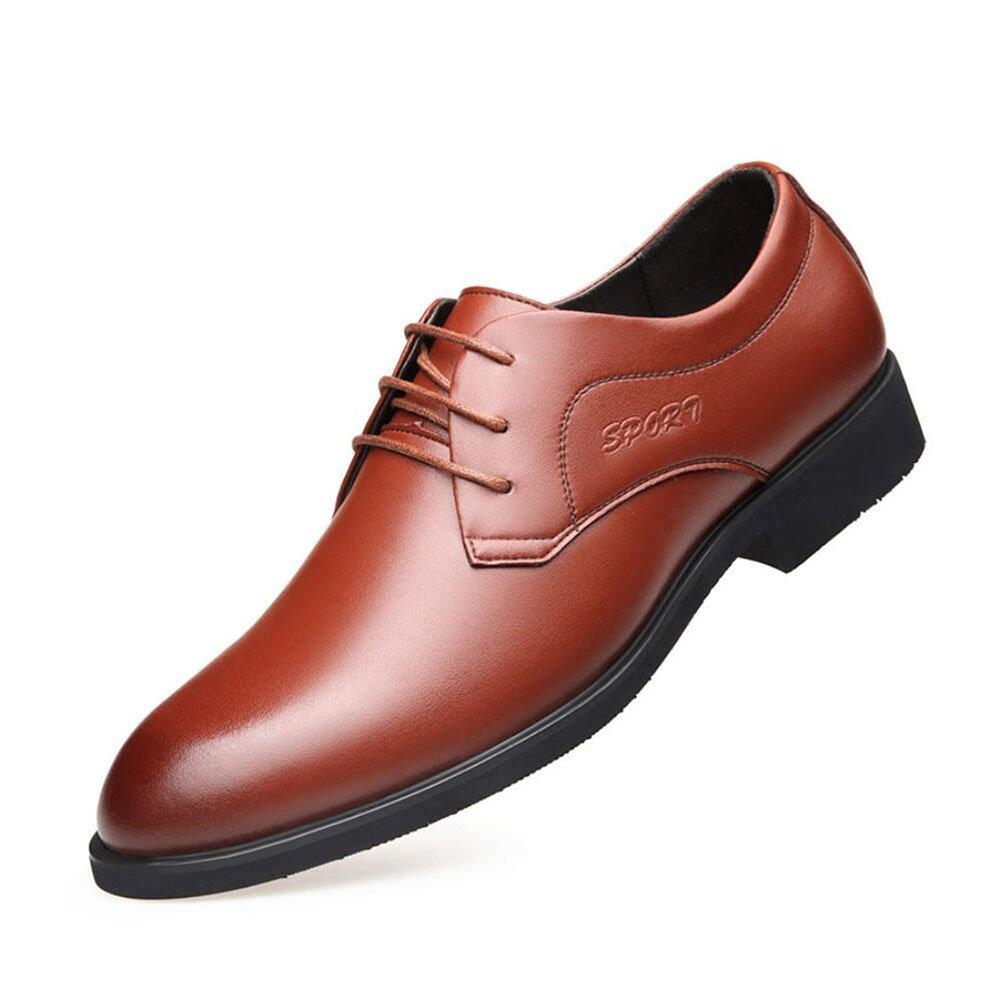 Herren Spitz Casual Lederschuhe 2018 Vier Jahreszeiten Formale Schuhe Herren Büro & Party Büro Schuhe Kleid Schuhe (Farbe   Braun, Größe   39)