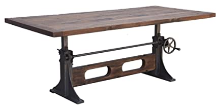 Adjustable 84u0026quot; Crank Industrial Apollo Teak Dining Table