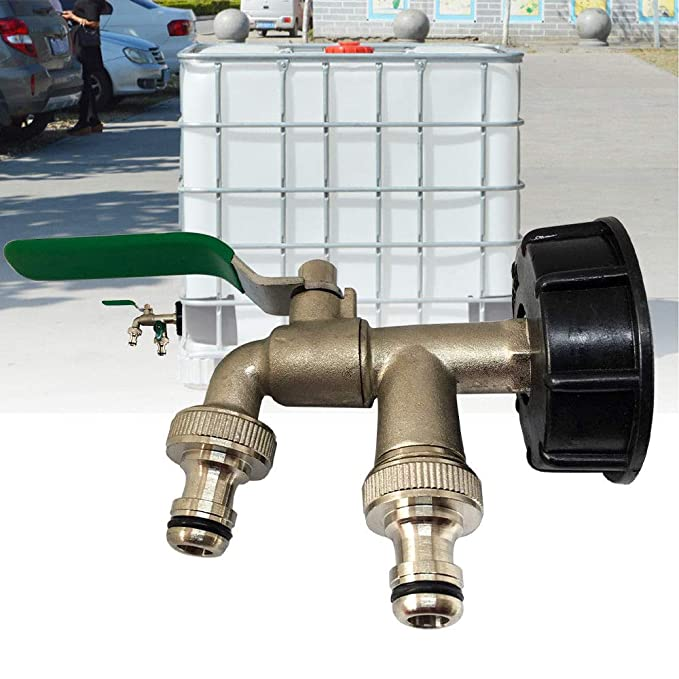 BE-TOOL IBC Tank Adapter Gardening Dual-Head IBC Tote Tank Drain Adapter S60X6 to Brass Garden Tap with 3/4 Hose Fitting Oil Fuel Water Watering Equipment