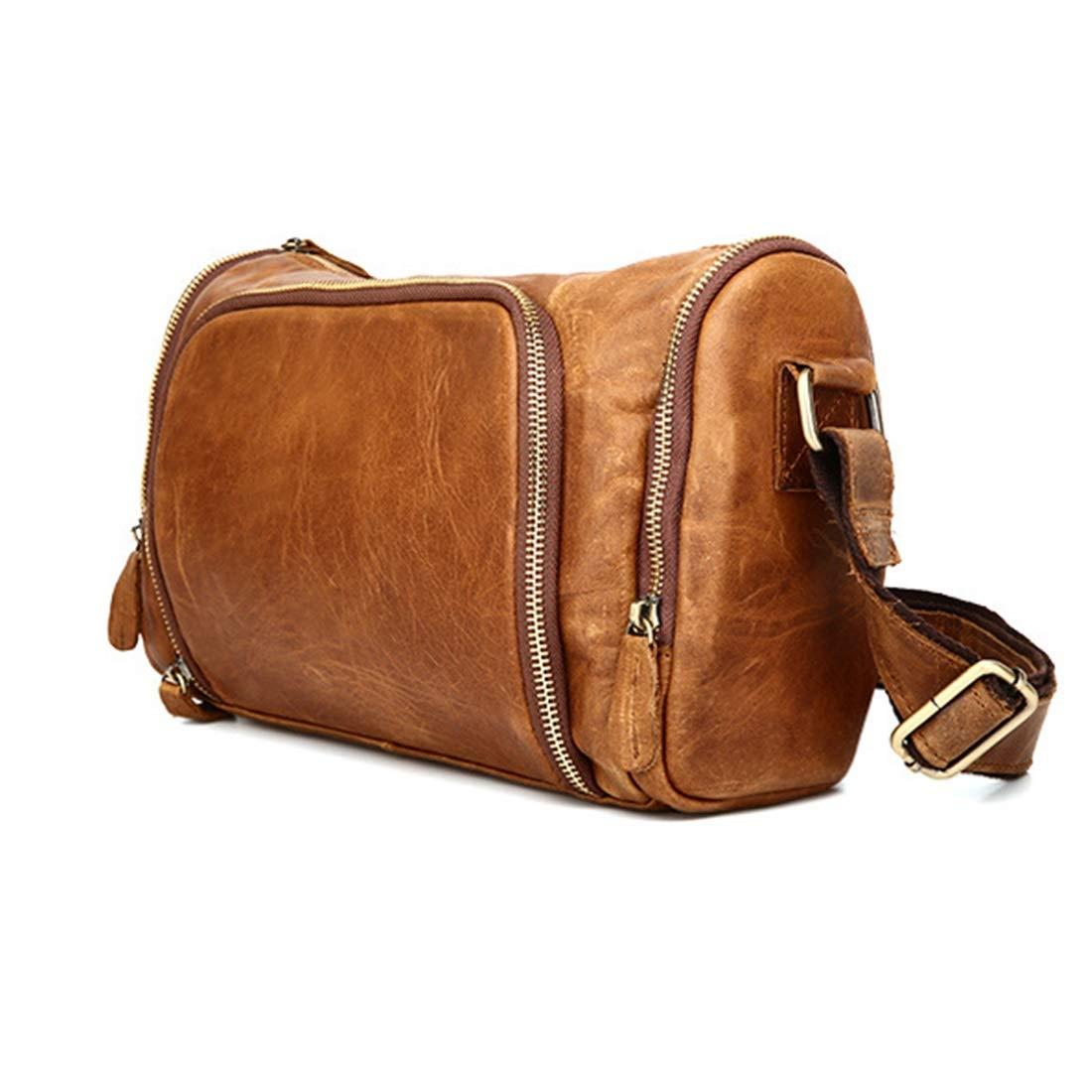 Color : Yelllow KRPENRIO Mens Genuine Leather Cowhide Vintage Crossbody Shoulder Bag Messenger Traval Business Bag School Bookbag Daypack Bag