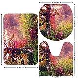 3 Piece Bathroom Mat Set,Farm-House-Decor,Fairy-Majestic-Landscape-with-Autumn-Trees-in-Forest-Natural-Garden-in-Ukraine,Red-Green-Brown.jpg,Bath Mat,Bathroom Carpet Rug,Non-Slip