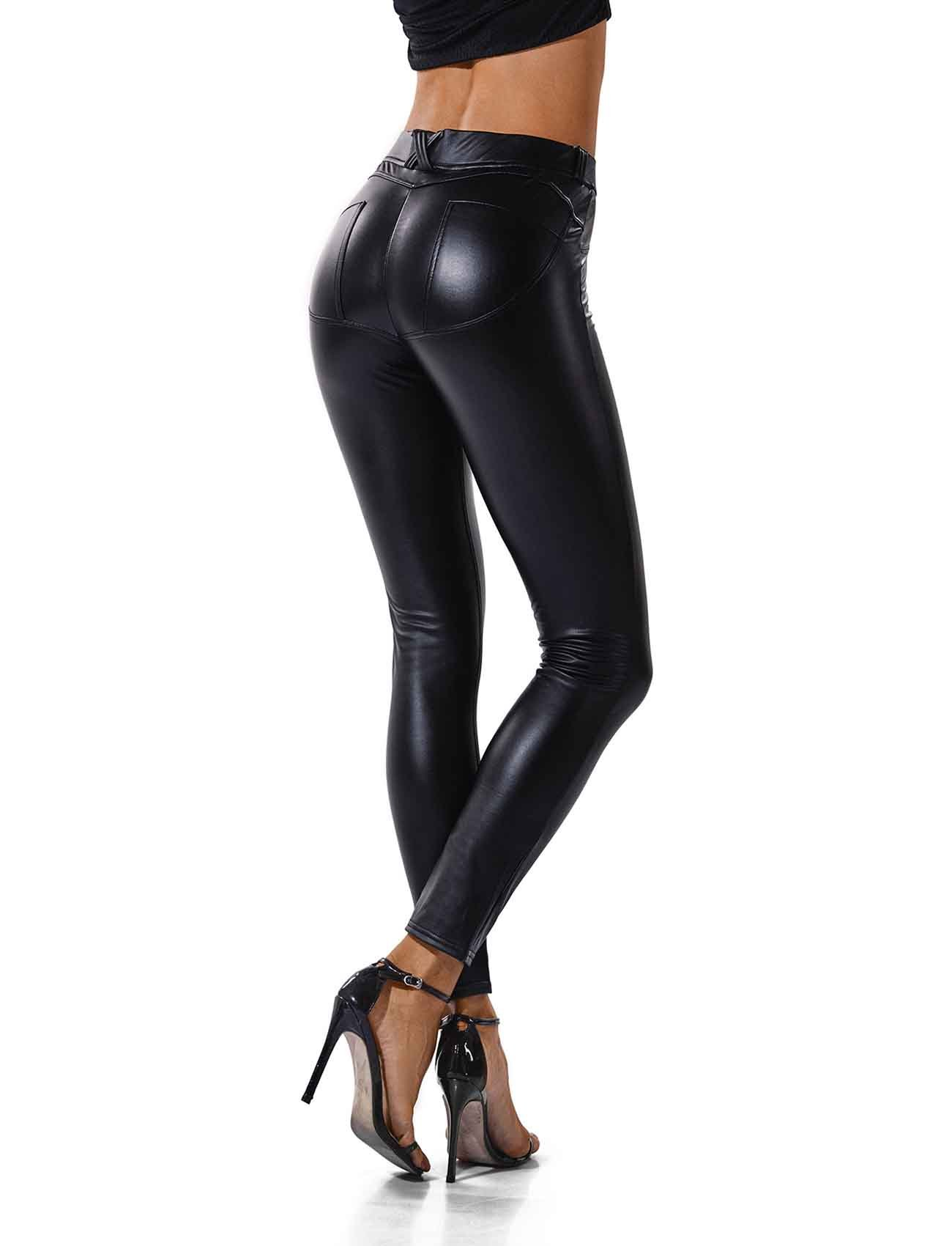 SEASUM Women's Faux Leather Leggings Pants PU Elastic Shaping Hip Push up Black Sexy Stretchy High Waisted Tights L