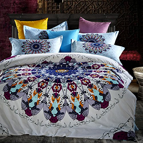 LELVA Bohemian Bedding Set Boho Style Bedding Duvet Cover Set Cotton Mandala Bedding
