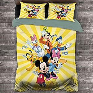 Bedding Set 3 Piece Set, Mickey Mouse Microfiber Duvet Cover Set 1 Duvet Cover & 2 Pillow Shams for Any Bed Room Or Guest Room, California King (104×98 inches) Mickey Minnie Mouse Donald Duck Family