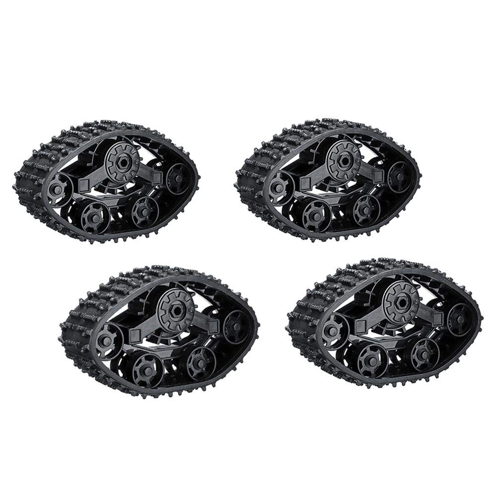 Navigatee 4PCS Remote control Caterpillar Band - 4WD Black Rubber Replacement Caterpillar Band Track for RC Car Military Truck.