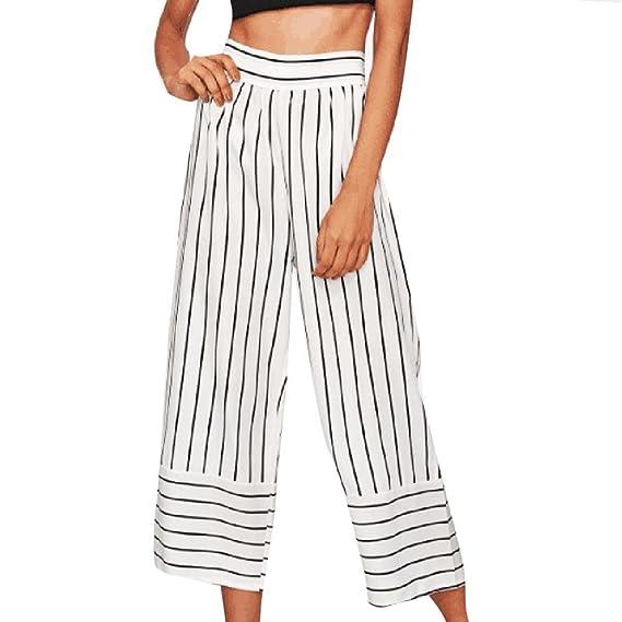 OHQ Pantalones para Mujer Cortos Anchos De Pierna Ancha Pantalones Anchos  Rayas con Rayas Cortos Sueltos d3df6d5f8d43